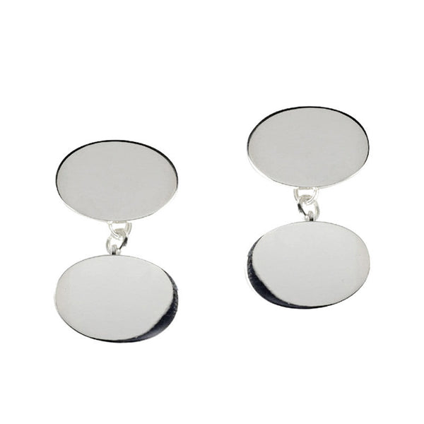 Sterling silver double oval cufflinks from the Cufflinks collection at Argenteus Jewellery