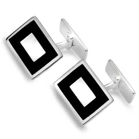 Sterling Silver And Black Onyx Cufflinks