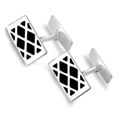 Sterling Silver And Black Diamond Pattern Cufflinks