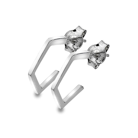 Pentagon Stud Hoop Earrings from the Earrings collection at Argenteus Jewellery