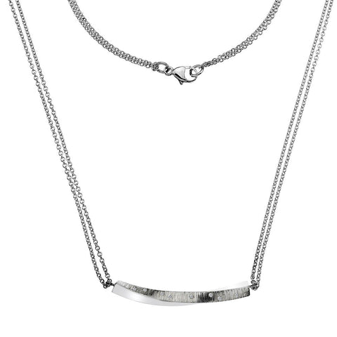 Pleats Texture Bar Necklace from the Necklaces collection at Argenteus Jewellery