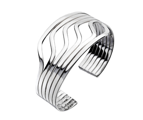 Silver Waves Torc Bangle from the Bangles collection at Argenteus Jewellery