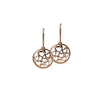 Virtue Keepsake Hearts Drop Earrings - Rose Gold Plate from the Earrings collection at Argenteus Jewellery