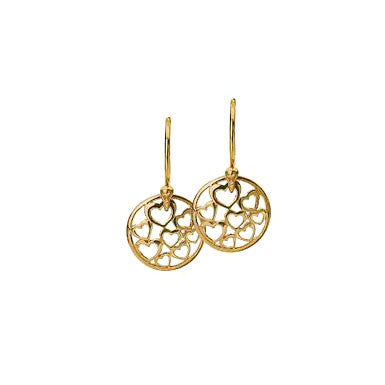 Virtue Keepsake Hearts Drop Earrings - Yellow Gold Plate from the Earrings collection at Argenteus Jewellery