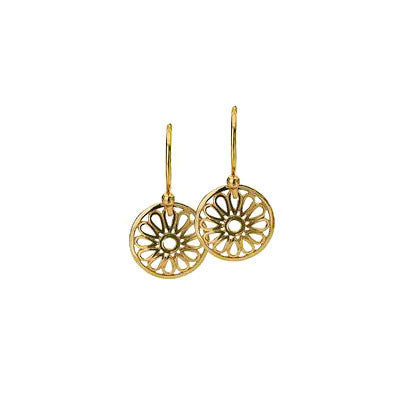 Virtue Keepsake Daisy Drop Earrings - Yellow Gold Plate