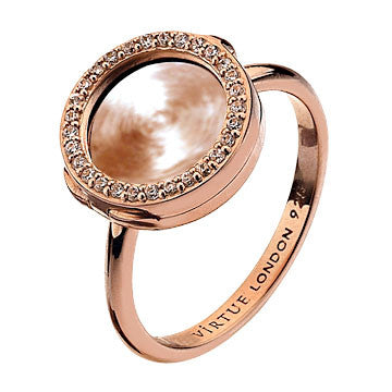Virtue Keepsake Crystal Ring 10mm - Rose Gold Plate from the Rings collection at Argenteus Jewellery