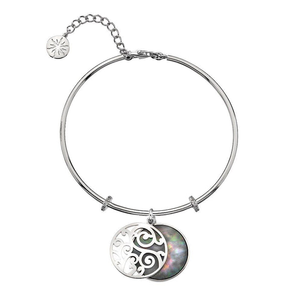 Virtue Keepsake Bangle - Grey Mother-Of-Pearl from the Bangles collection at Argenteus Jewellery