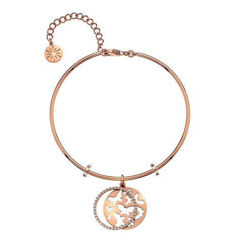 Virtue Keepsake Bangle - Rose Gold Plate Butterflies from the Bangles collection at Argenteus Jewellery