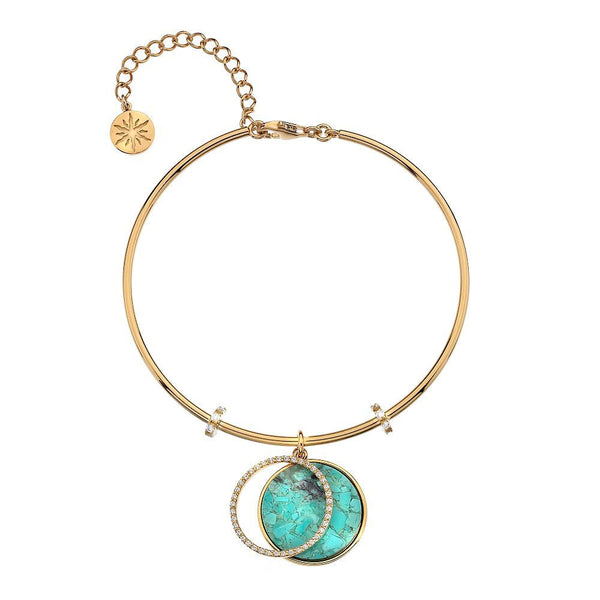 Virtue Keepsake Bangle-Yellow Gold Plate Turquoise from the Bangles collection at Argenteus Jewellery