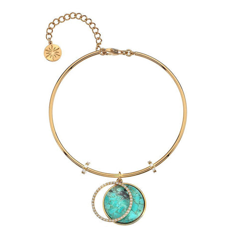 Virtue Keepsake Bangle-Yellow Gold Plate Turquoise