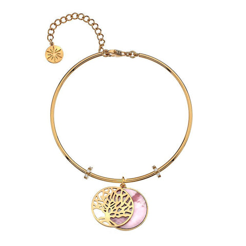 Virtue Keepsake Bangle-Yellow Gold Plate Pink Mother-Of-Pearl from the Bangles collection at Argenteus Jewellery