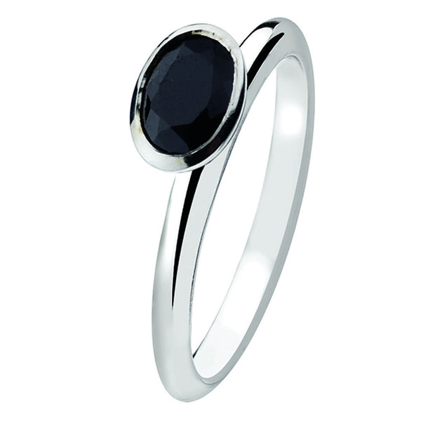 Virtue London Ring - Omega Black Cubic Zirconia from the Rings collection at Argenteus Jewellery