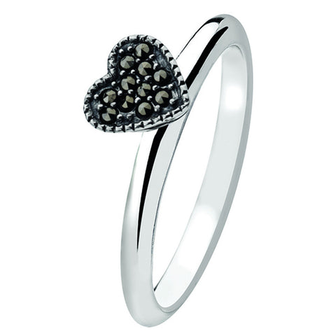 Virtue London Ring - Medici Heart Marcasite Stones from the Rings collection at Argenteus Jewellery