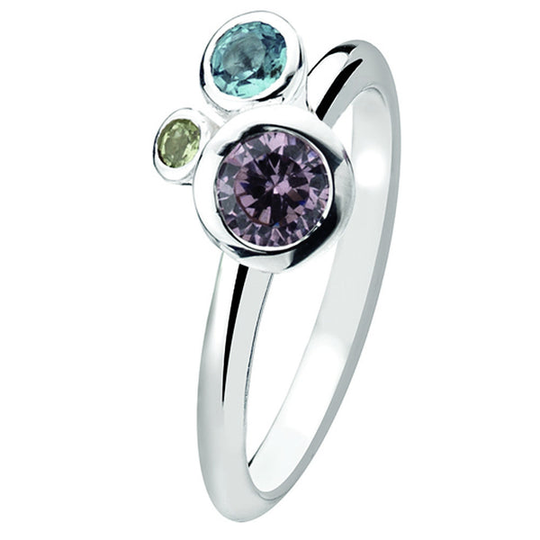 Virtue London Ring - Bubble Multi Colour Cubic Zirconia from the Rings collection at Argenteus Jewellery