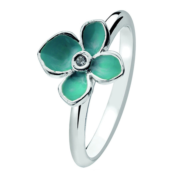 Virtue London Ring - Forget Me Not Enamel Flower from the Rings collection at Argenteus Jewellery