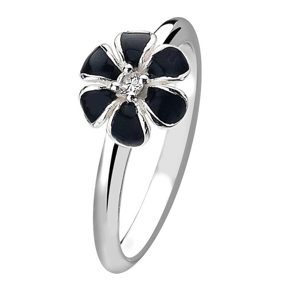 Virtue London Ring - Black Pansy Flower from the Rings collection at Argenteus Jewellery