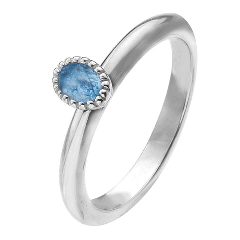 Virtue London Ring - Minds Eye Blue CZ from the Rings collection at Argenteus Jewellery