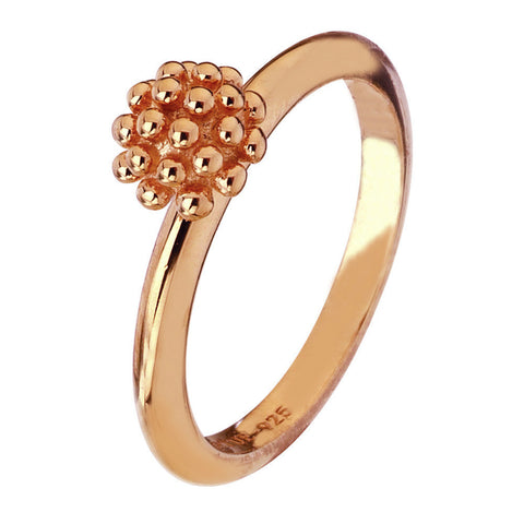 Virtue London Ring - Trachelium Flower Rose Gold Plate from the Rings collection at Argenteus Jewellery