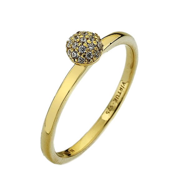 Virtue London Ring - Wishes Cubic Zirconia Gold Plate from the Rings collection at Argenteus Jewellery