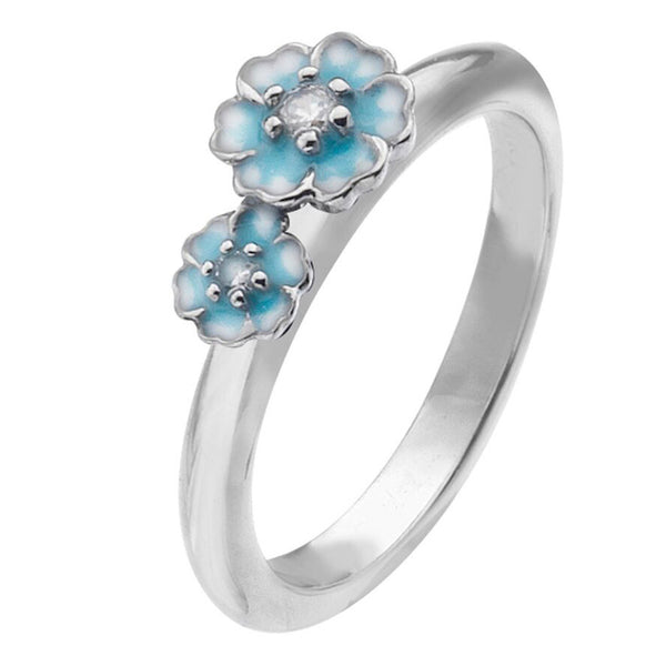 Virtue London Ring - Cluster Flowers Blue Enamel from the Rings collection at Argenteus Jewellery