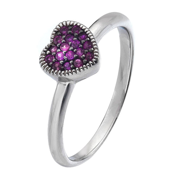 Virtue London Ring - Purple Heart Cubic Zirconia from the Rings collection at Argenteus Jewellery