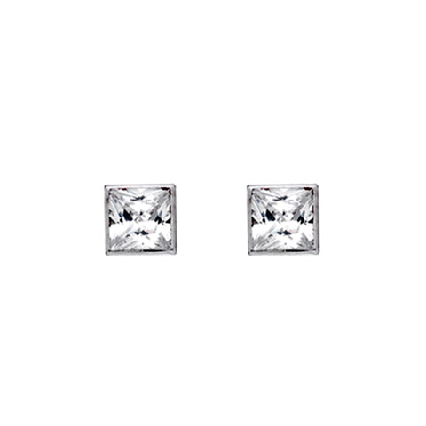 Gold Square Stud Earrings With Cubic Zirconia from the Earrings collection at Argenteus Jewellery