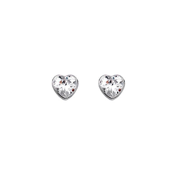 Gold Heart Stud Earrings With Cubic Zirconia from the Earrings collection at Argenteus Jewellery