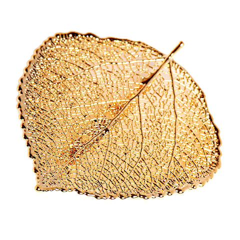 Gold-plated Aspen Leaf Brooch from the Brooches collection at Argenteus Jewellery