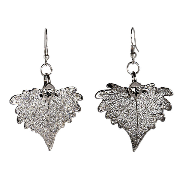 Platinum-plated Cottonwood Leaf Earrings from the Earrings collection at Argenteus Jewellery