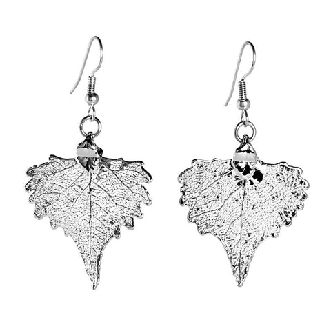 Cottonwood Leaf Earrings Silver Plate from the Earrings collection at Argenteus Jewellery