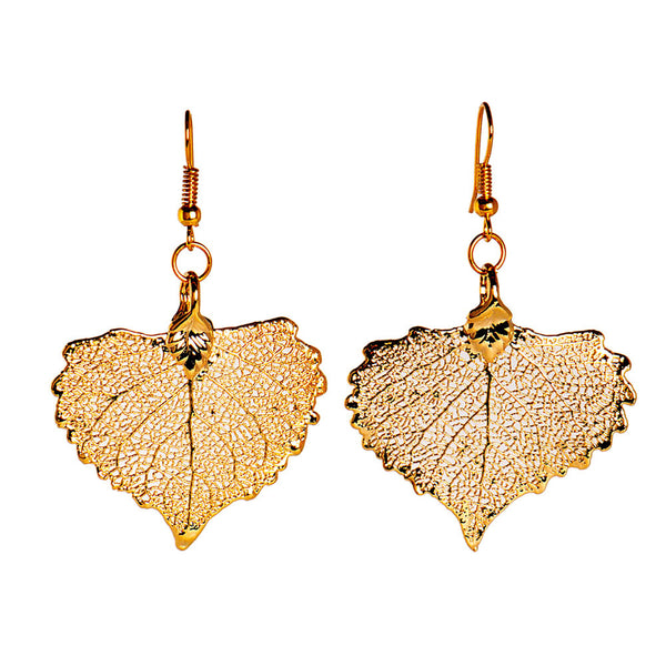 Gold-plated Cottonwood Leaf Earrings from the Earrings collection at Argenteus Jewellery