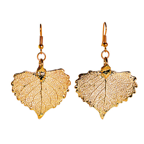 Cottonwood Leaf Earrings Gold Plate from the Earrings collection at Argenteus Jewellery