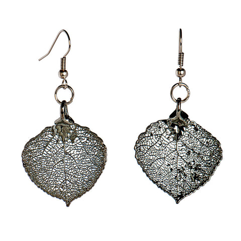 Platinum-plated Aspen Leaf Earrings from the Earrings collection at Argenteus Jewellery