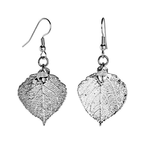 Aspen Leaf Earrings Silver Plate