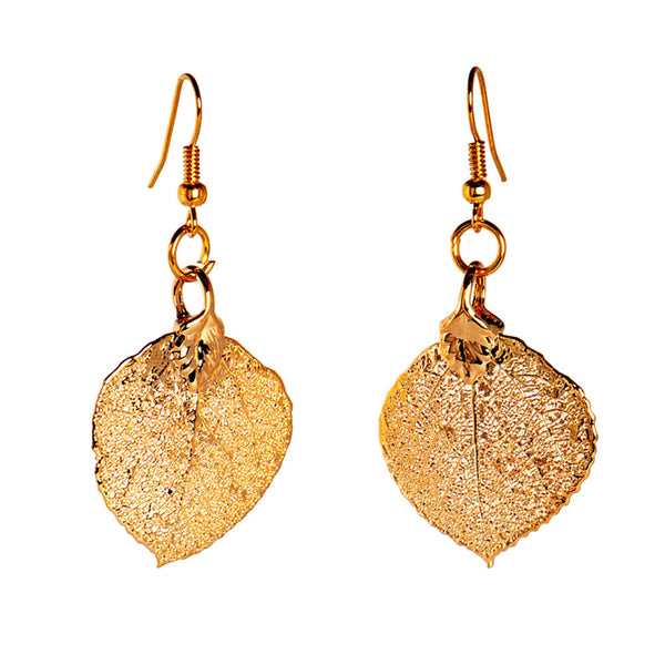 Gold-plated Aspen Leaf Earrings from the Earrings collection at Argenteus Jewellery