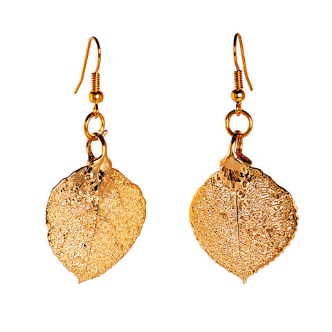Aspen Leaf Earrings Gold Plate