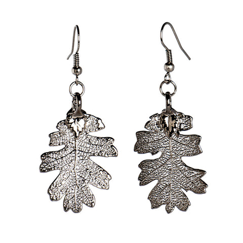 Platinum-plated Lacey Oak Leaf Earrings from the Earrings collection at Argenteus Jewellery