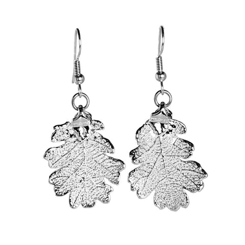 Lacey Oak Leaf Earrings Silver Plate from the Earrings collection at Argenteus Jewellery