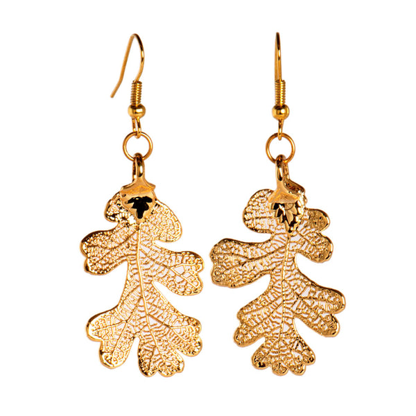 Gold-plated Lacey Oak Leaf Earrings from the Earrings collection at Argenteus Jewellery
