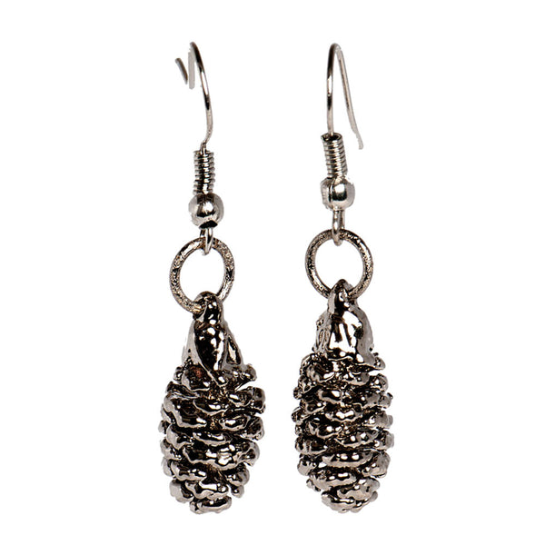 Platinum-plated Pine Cone Earrings from the Earrings collection at Argenteus Jewellery