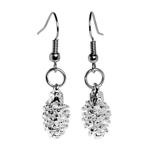 Silver-plated Pine Cone Earrings from the Earrings collection at Argenteus Jewellery