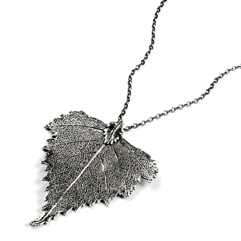 Platinum-plated Birch Leaf Necklace from the Necklaces collection at Argenteus Jewellery