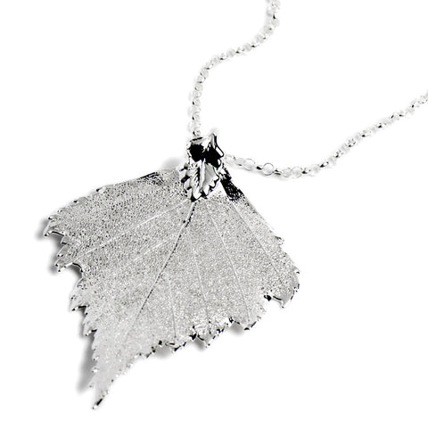 Birch Leaf Necklace Silver Plate from the Necklaces collection at Argenteus Jewellery