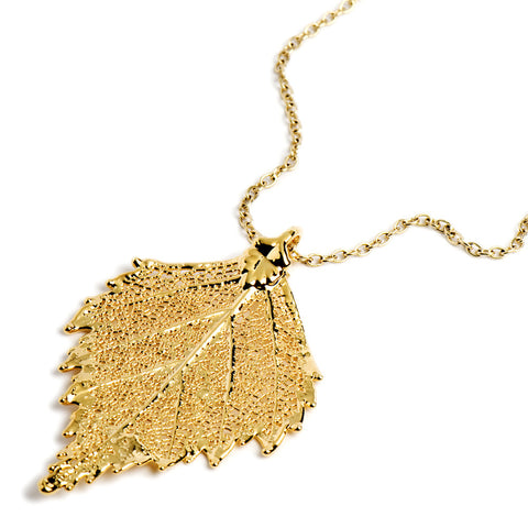 Gold-plated Birch Leaf Necklace from the Necklaces collection at Argenteus Jewellery