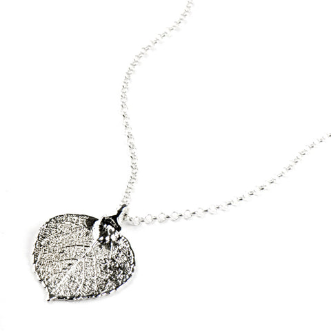 Silver-plated Aspen Leaf Necklace from the Necklaces collection at Argenteus Jewellery