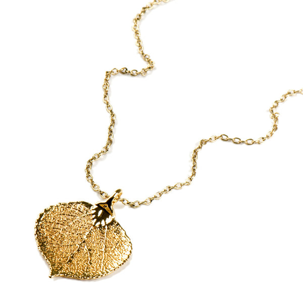 Gold-plated Aspen Leaf Necklace from the Necklaces collection at Argenteus Jewellery