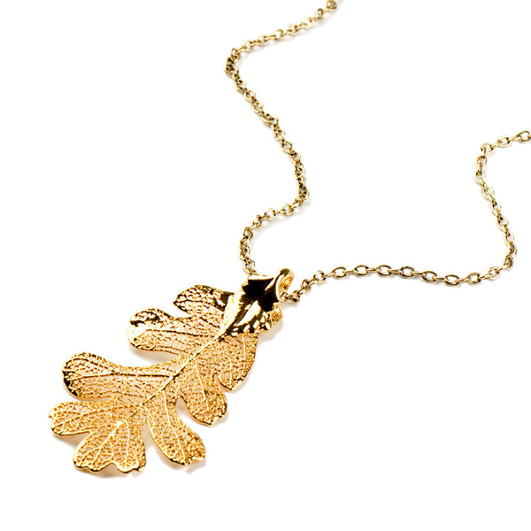 Gold-plated Lacey Oak Leaf Necklace from the Necklaces collection at Argenteus Jewellery