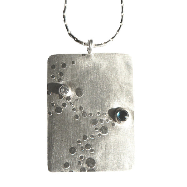 Bubbles, blue topaz and cubic zirconia drop necklace from the Necklaces collection at Argenteus Jewellery