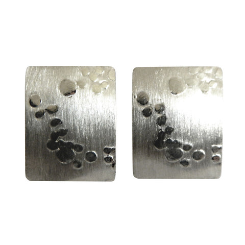 Hazel Davison - Bubbles Medium Rectangle Stud Earrings from the Earrings collection at Argenteus Jewellery
