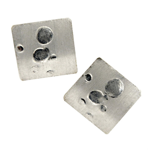 Hazel Davison - Bubbles Curved Square Stud Earrings from the Earrings collection at Argenteus Jewellery